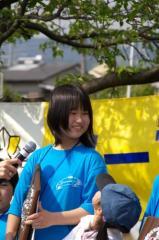 優勝インタビュー中の楢岡選手